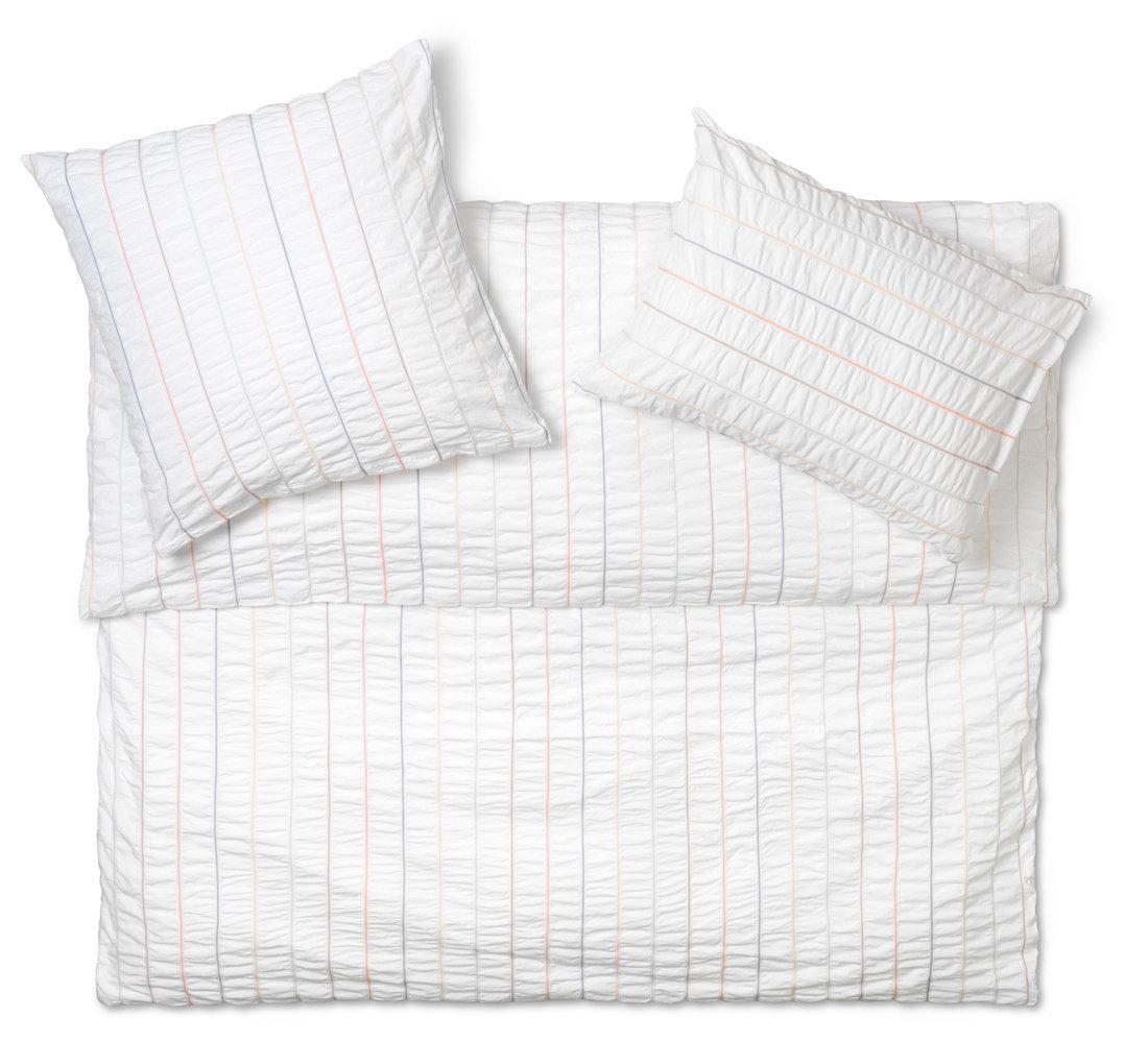 b gelfreie seersucker bettw sche schlossberg nelson in wei und bunt gestreift. Black Bedroom Furniture Sets. Home Design Ideas