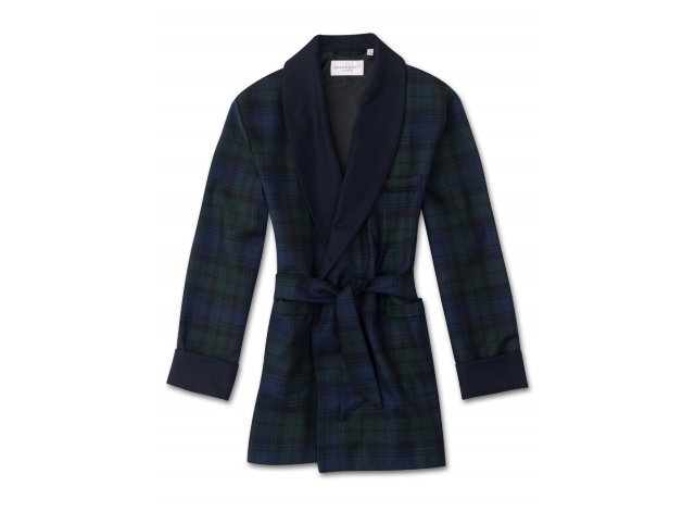 "Derek Rose Wool Dressing Gown ""Tartan 1 Black Watch"""