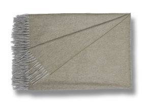 "Sehr feines Lambswool Plaid mit Angora ""Begg & Co Jura Light Army"", 130 x 200 cm"