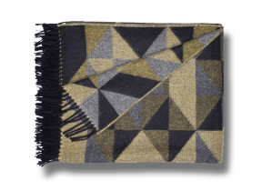 "Design Lambswool Plaid mit Angora ""Begg & Co Sonia Ochre"", 150 x 180 cm"