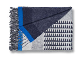 "Lammwoll Plaid mit Kaschmir ""Begg & Co Valley Vector Navy Klein"", 140 x 180 cm"