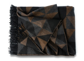 "Aufregendes Designplaid Lambswool-​Angora ""Begg & Co Sonia Vicuna"", 150 x 180 cm"