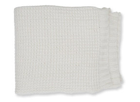 "Gestrickte Baumwolldecke ""Lexington Knitted Cotton Throw Offwhite"", 130 x 170 cm"