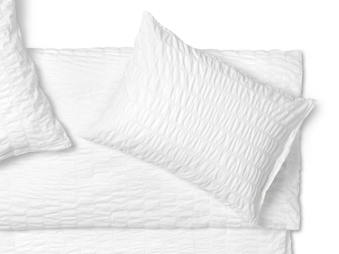 Bügelfreie Seersucker Bettwäsche In Purem Weiß Aus Reiner Langstapel
