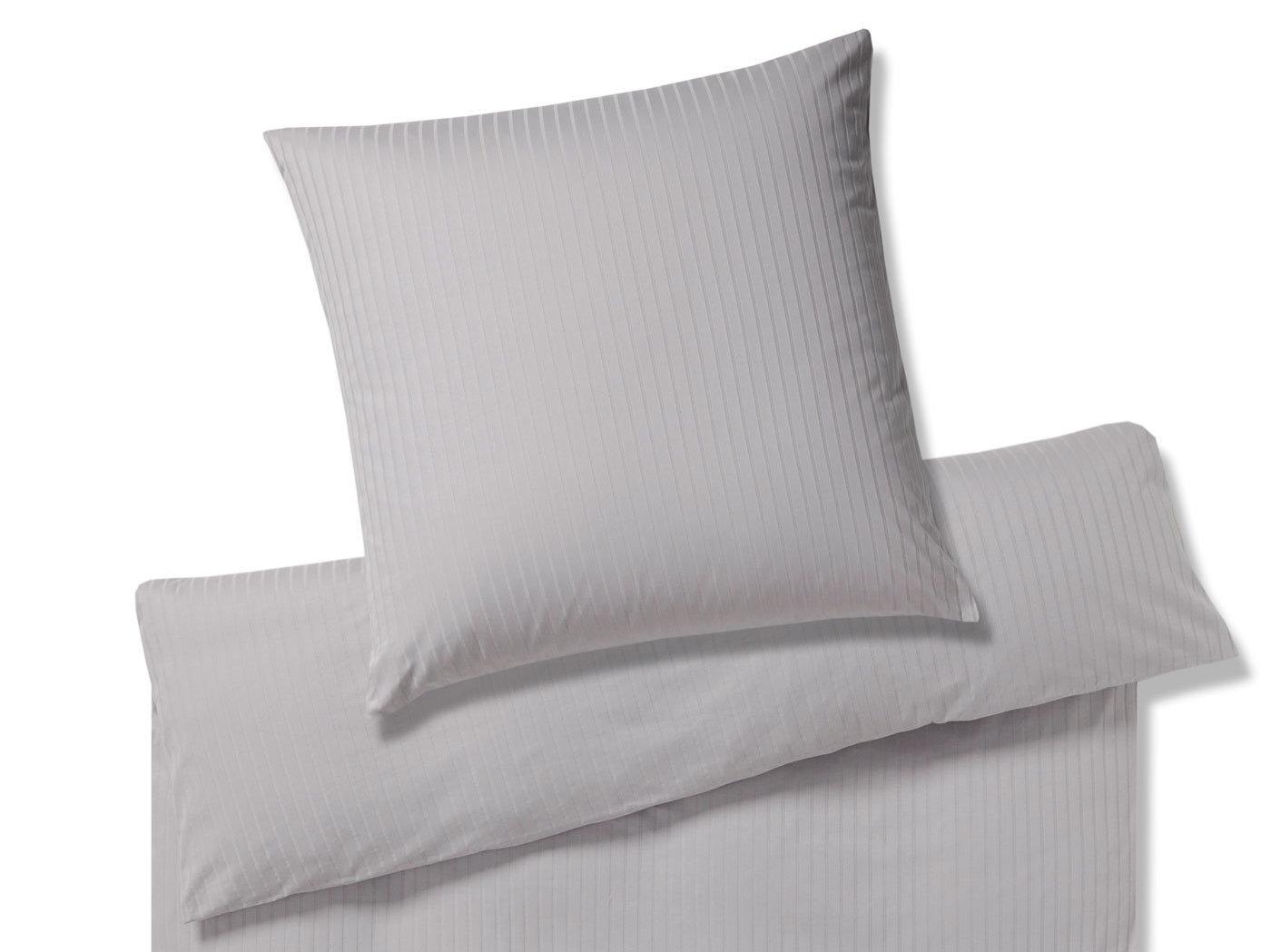 Mattgraue Jersey Bettwäsche Mit Streifen Bügelfrei Bedandroom