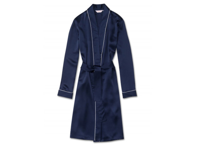 Derek Rose Silk Dressing Gown, Navy