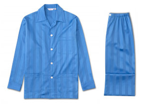 Satinpyjama mit Jacquardstreifen in French Blue von Derek Rose