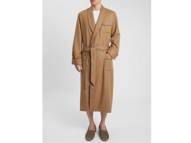 "Derek Rose Cashmere Dressing Gown ""Duke 1 Camel"" - Model"